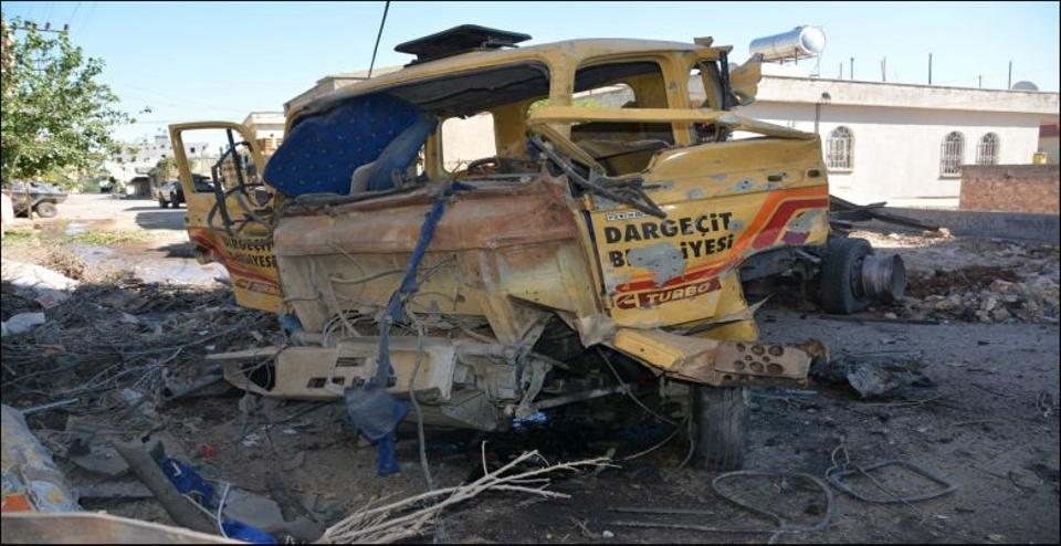 Truck belonging to Dargecit municipality which was used in an attack on Cevizlik Gendarmerie Command in Artuklu, Mardin.