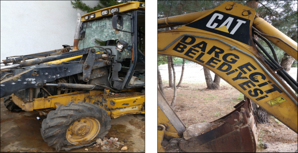 Digger belonging to Dargecit municipality which the released document say was used to dig trenches by PKK.