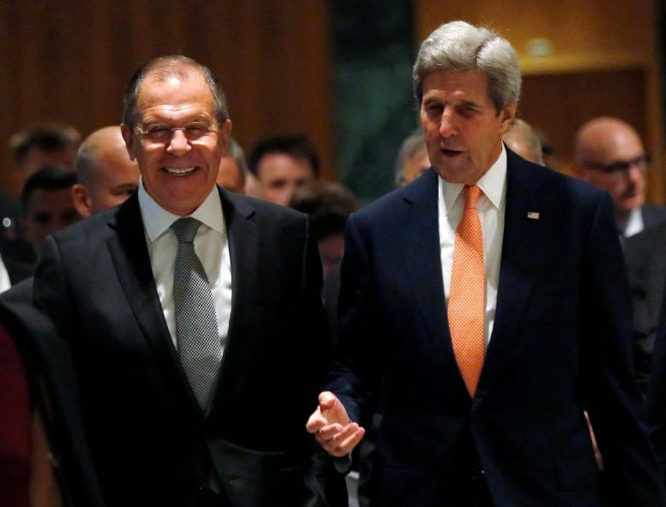 Russian Foreign Minister Sergei Lavrov (L) and US Secretary of State John Kerry (R) announced a breakthrough deal on Syria on September 10.