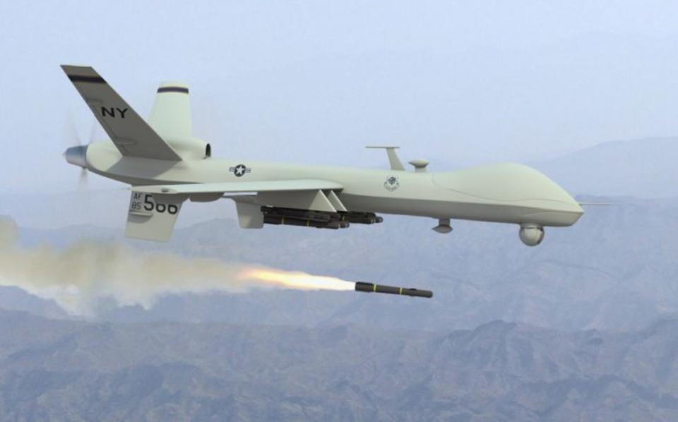 A US drone is seen launching a missile in this file photo.