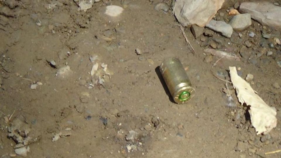 Picture shows a bullet casing found outside Ahmet Budak's house in Semdinli, Hakkari, Turkey, September 14, 2016. (AA)