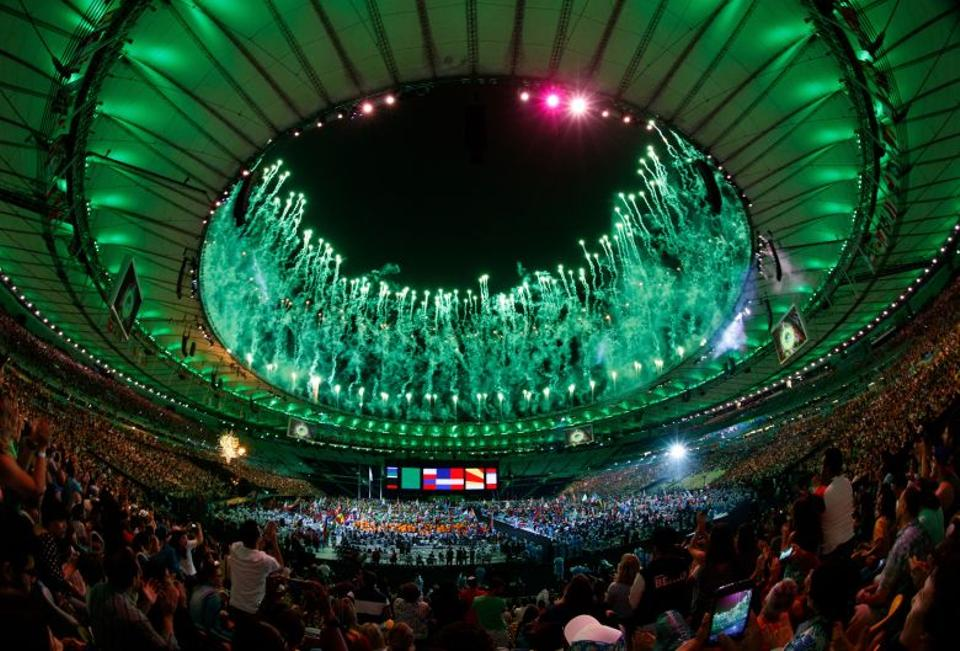 Fireworks over the arena during the closing ceremony of the Rio 2016 Paralympic Games at the Maracana Stadium in Rio de Janeiro, Brazil on September 18, 2016.