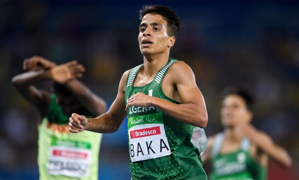 Algeria's Abdellatif Baka wins the gold in the men's 1,500-meter T13 final athletics event at Olympic Stadium during the Paralympic Games in Rio de Janeiro, Brazil, Sunday, Sept. 11, 2016.