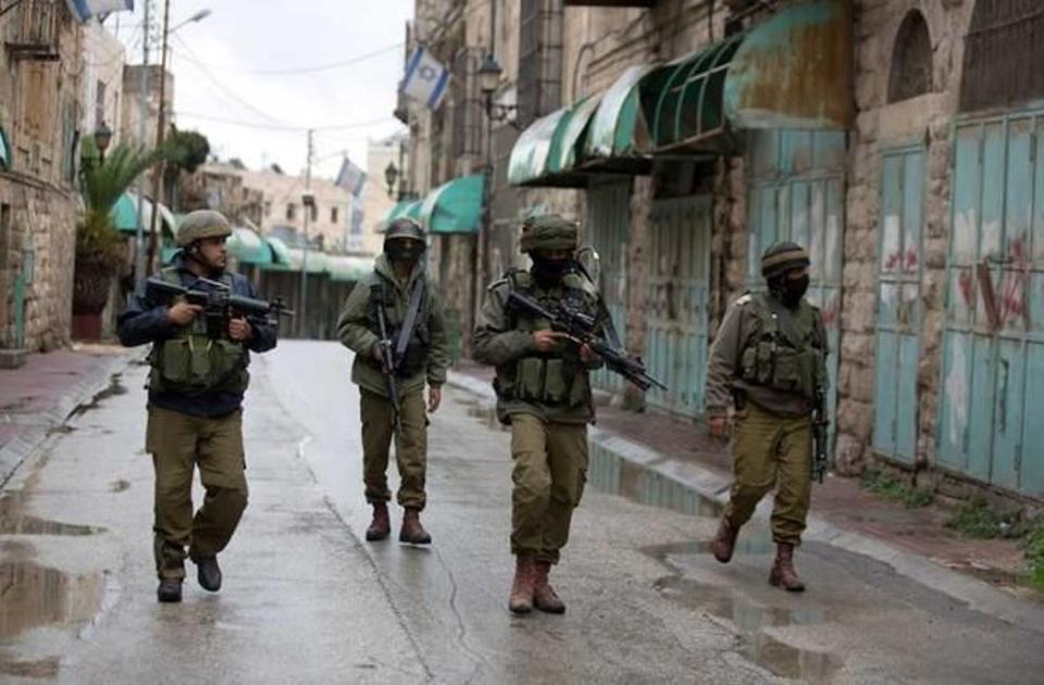 Israeli occupation forces on patrol in the West Bank city of Hebron.