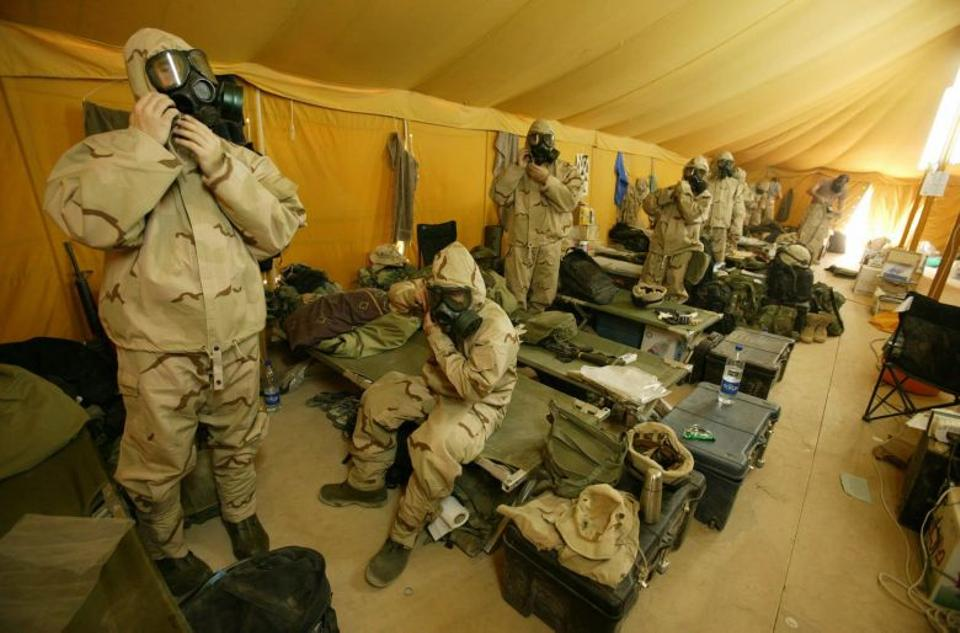 Since the 2003 invasion into Iraq, US soldiers have been prepared to don their specialised NBC (Nuclear, Biological, Chemical) kits.