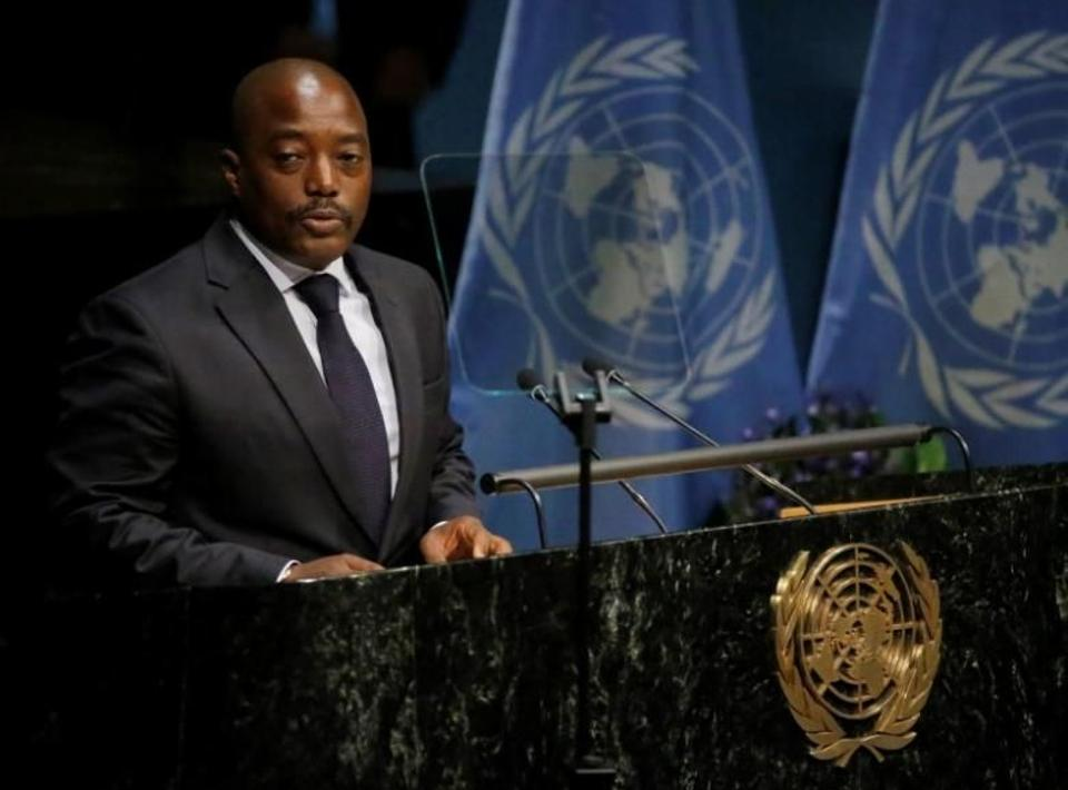 The President of the Democratic Republic of Congo, Joseph Kabila delivers his remarks during the opening ceremony of the Paris Agreement signing ceremony on climate change at the United Nations Headquarters in Manhattan, New York, U.S., April 22, 2016.