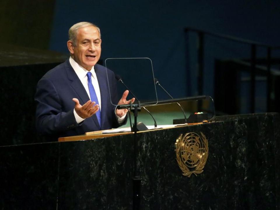 Prime Minister Benjamin Netanyahu of Israel addresses the United Nations General Assembly in the Manhattan borough of New York, US, September 22, 2016.