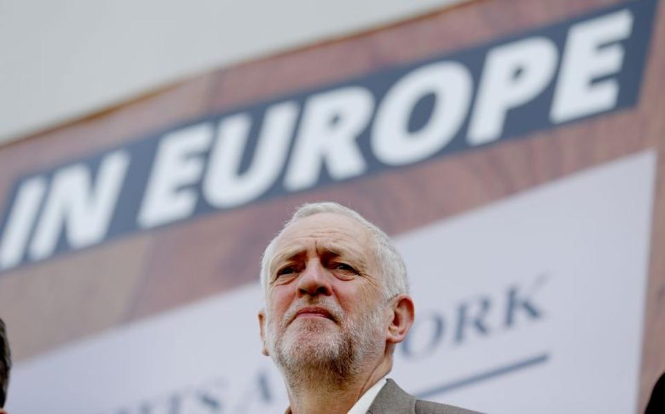 Jeremy Corbyn speaks during the unveiling of a new poster from the Labour In for Britain campaign, which advocated the UK remain in the EU, in London, June 7, 2016. (AP Archive)