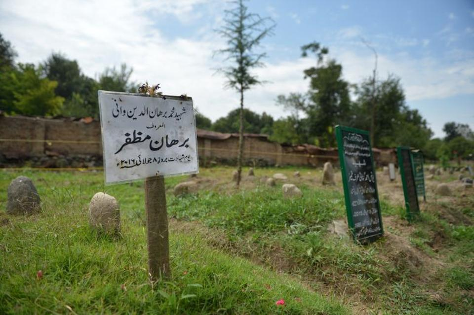 In this picture taken on September 12, 2016, the grave of Burhan Wani is seen in his native Tral village.