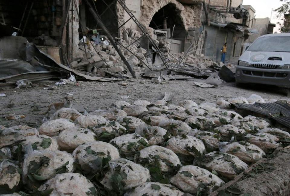 Air strikes hit a bakery in an opposition-held area in Aleppo, Syria on September 28, 2016 after US-Russia brokered truce failed within a week.