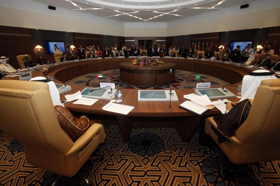 This picture shows an informal meeting between members of the Organization of Petroleum Exporting Countries, OPEC, taking place in the Algerian capital Algiers, on September 28, 2016.