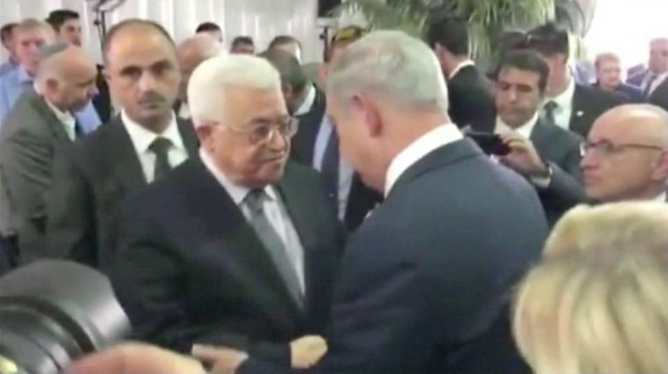 The last substantial public meeting between Palestinian President Mahmud Abbas and Israeli Prime Minister Benjamin Netanyahu was in 2010. Here they are seen shaking hands at the Knesset, the Israeli Parliament, during the funeral of Shimon Peres, Sep.30, 2016.