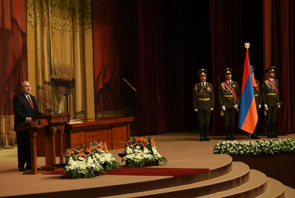 Armenian President Armen Sarkisian is sworn in at the National Assembly in Yerevan on April 9, 2018.