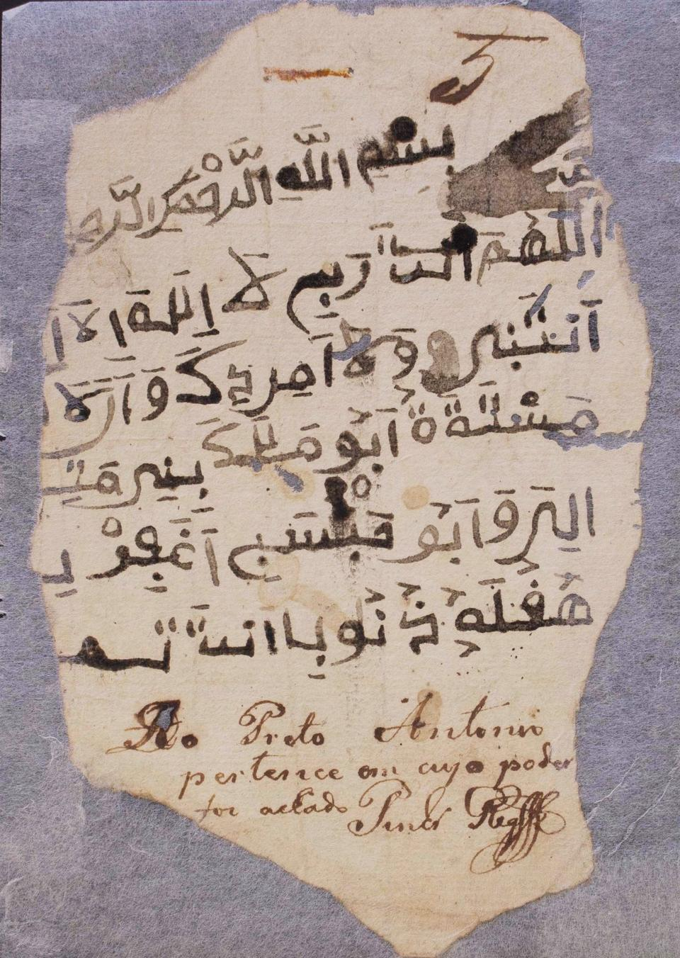 A manuscript written by a Brazilian slave in an Arabic script.