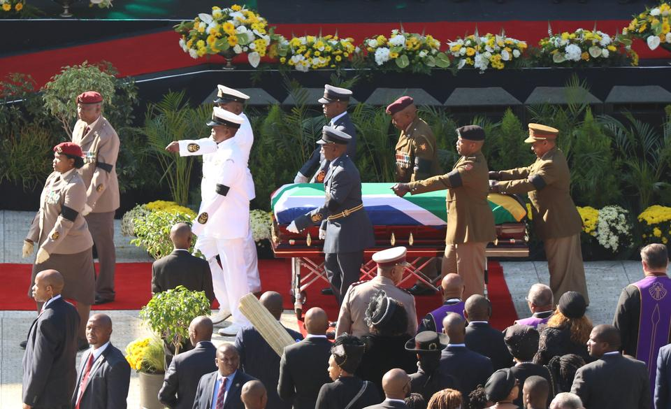 The coffin of Winnie Madikizela-Mandela arrives at the Orlando stadium in Soweto, South Africa April 14, 2018.