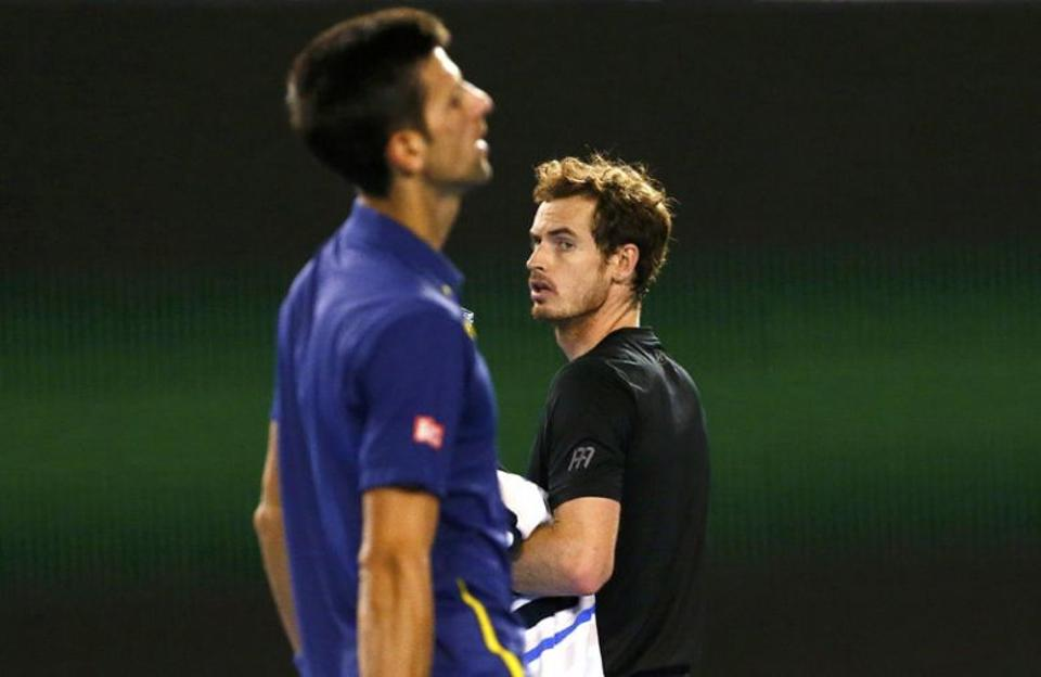 Andy Murray looks on at Novak Djokovic during the 2016 Australian Open finals.