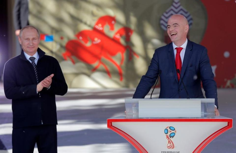Russian President Vladimir Putin and FIFA President Gianni Infantino attend the launching ceremony of the 2018 World Cup and 2017 Confederations Cup volunteer campaign in Moscow, Russia on June 1, 2016