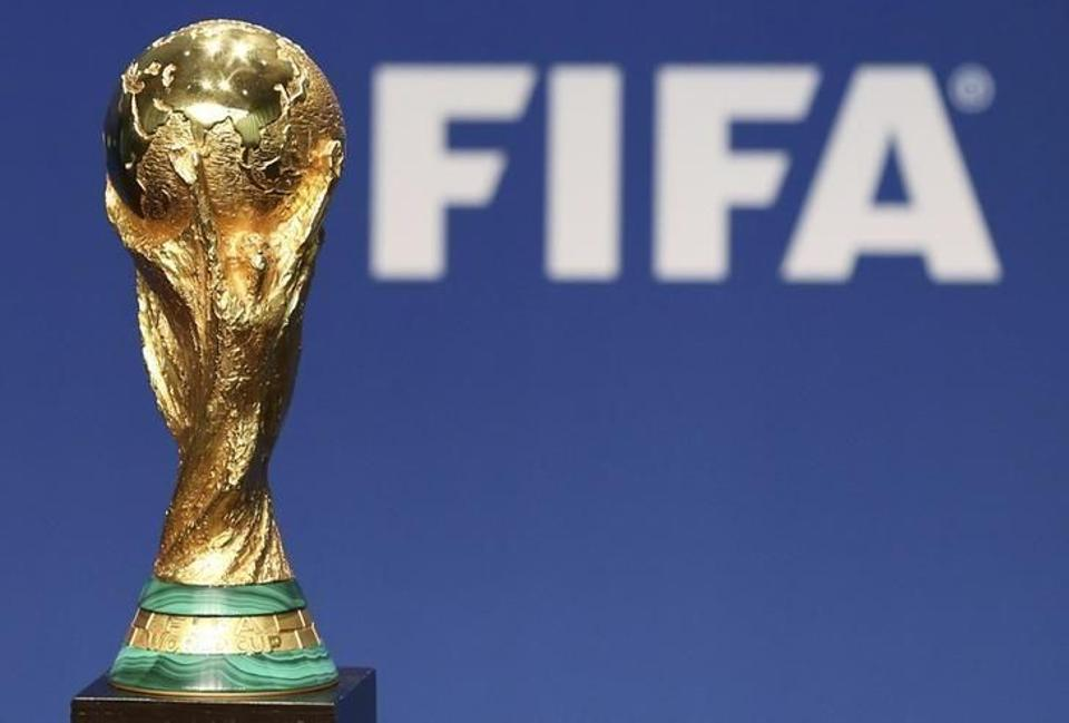 A replica of the World Cup trophy on display at FIFA's headquarters in Zurich, Switzerland.
