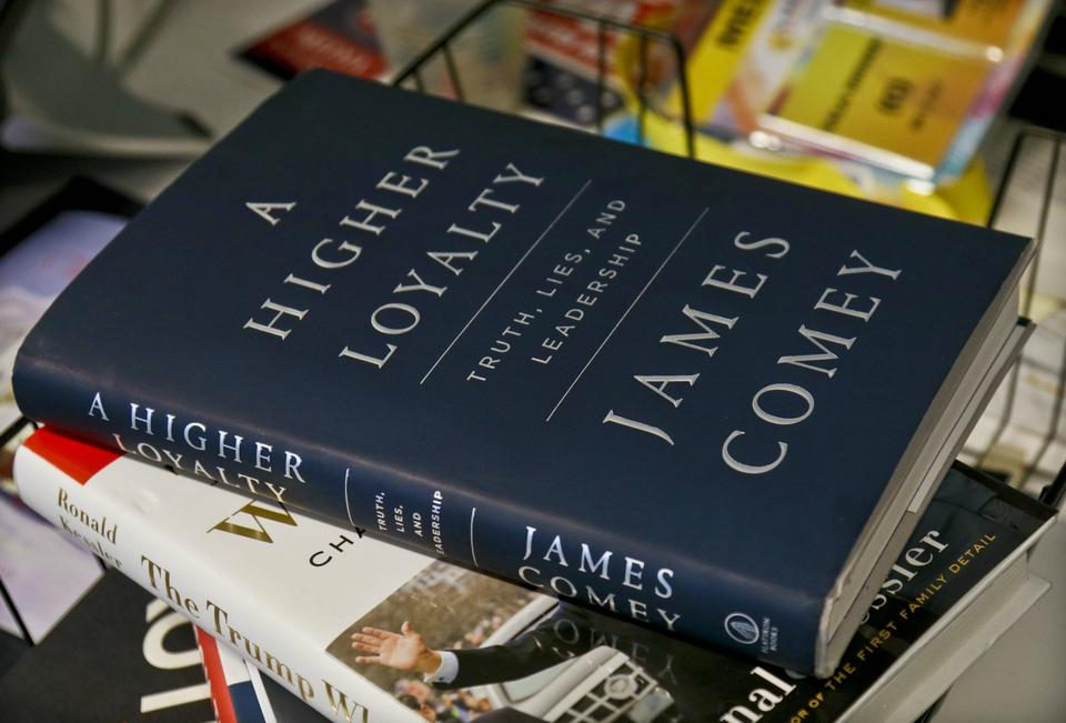A copy of former FBI Director James Comey's new book,