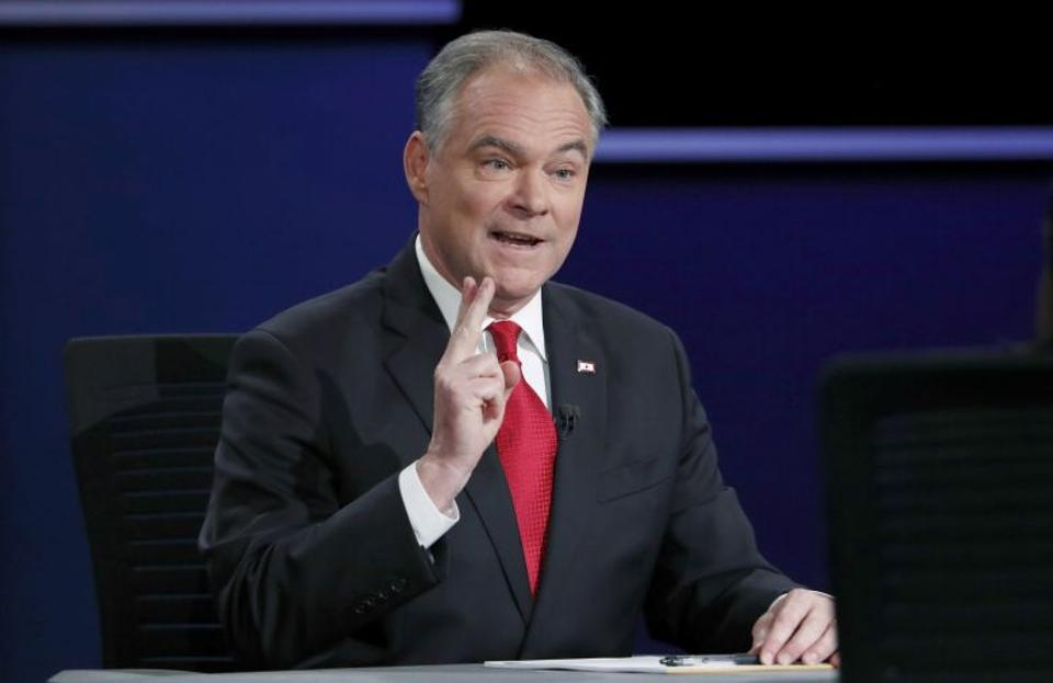 Democratic US vice presidential nominee Senator Kaine makes a gesture during his vice presidential debate with Republican US vice presidential nominee Governor Pence at Longwood University in Farmville, Virginia. Source: Reuters