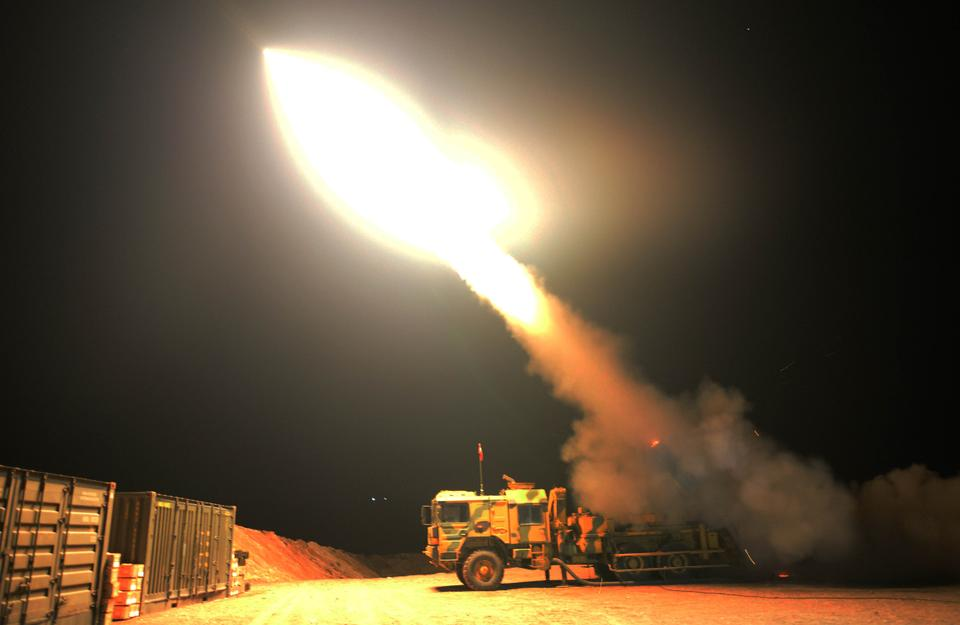 Turkish Armed Forces deploy T-122 Sakarya multiple launch rocket system to hit YPG and Daesh terror group targets during Operation Olive Branch launched in Syria's Afrin, on February 22, 2018.