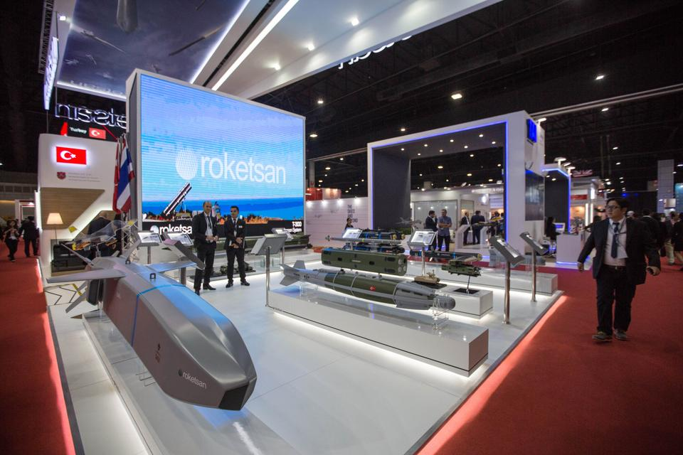 The showcase of the Turkish company Roketsan is seen during the first day of the Defense & Security Fair 2017 at Impact Exhibition & Convention Center in Bangkok, Thailand on November 06, 2017.