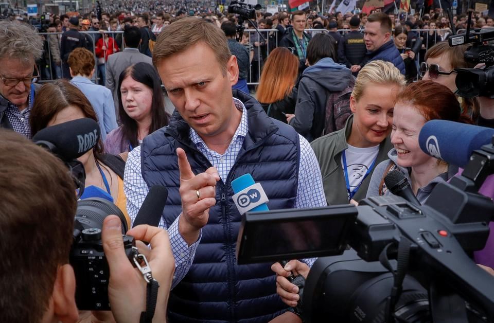 Russian opposition leader Alexei Navalny attends a rally in protest against court decision to block the Telegram messenger because it violated Russian regulations, in Moscow, Russia, April 30, 2018