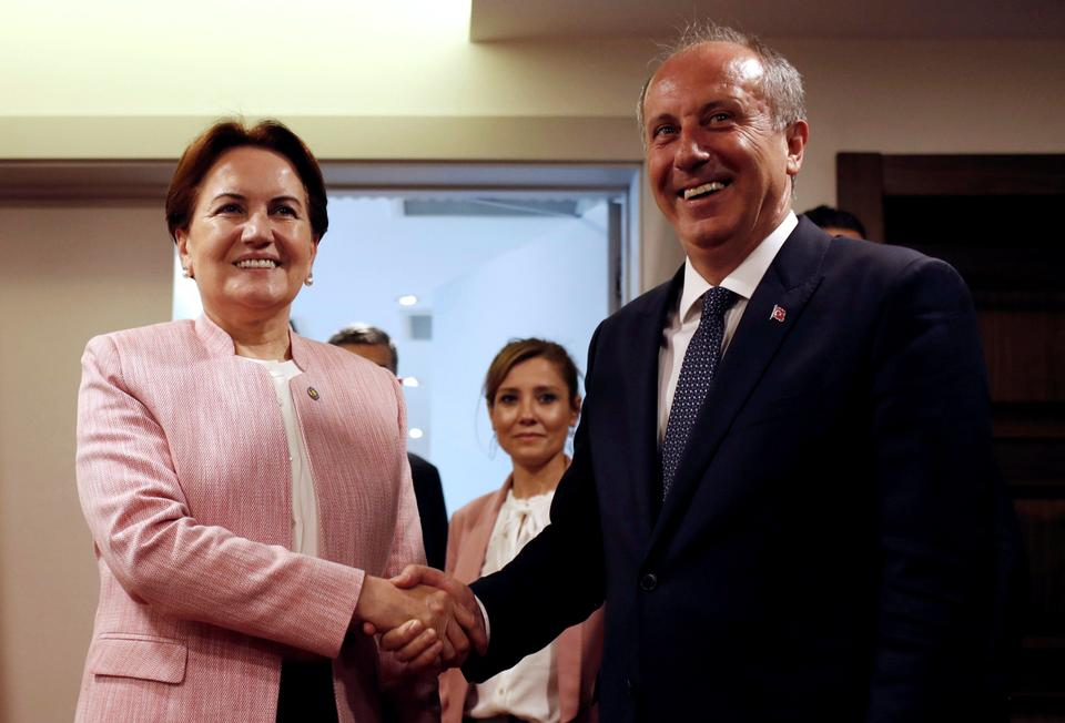 Muharrem Ince, the candidate of main opposition CHP (Republican People's Party) in the June 24 presidential snap election, meets with Iyi (Good) Party leader and presidential candidate Meral Aksener in Ankara, Turkey, May 8, 2018.