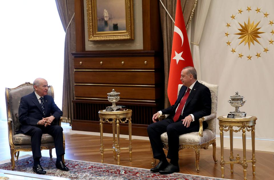 Turkish President Recep Tayyip Erdogan meets with MHP (Nationalist Movement Party) leader Devlet Bahceli at the Presidential complex in Ankara, Turkey, April 18, 2018.