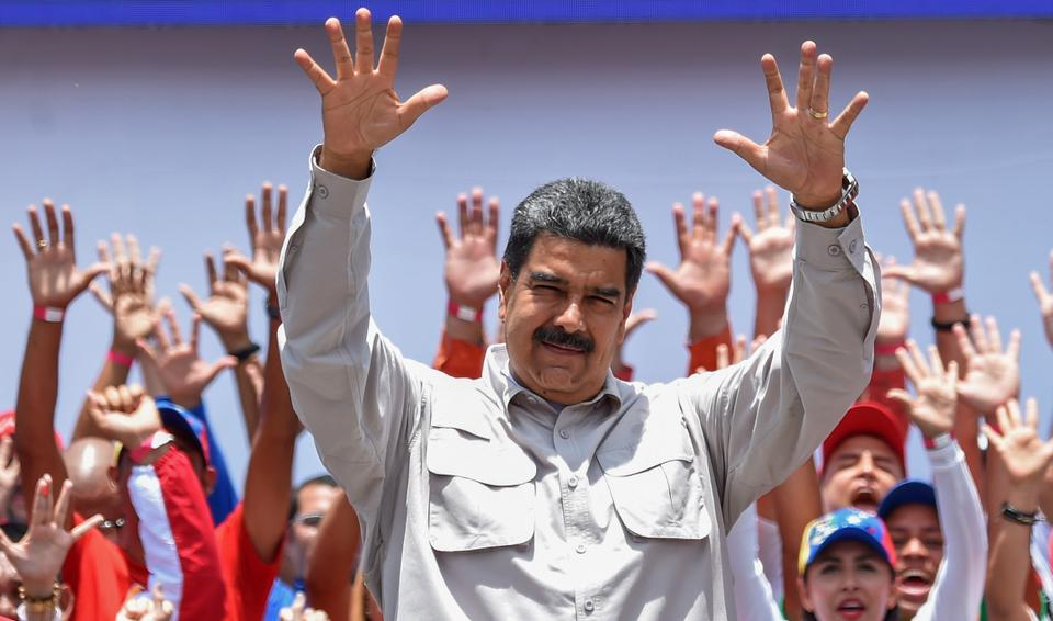 Venezuelan President Nicolas Maduro gestures during a campaign rally in Charallave on May 15, 2018. Venezuela holds presidential elections on May 20, in which Maduro is seeking a second six-year term.