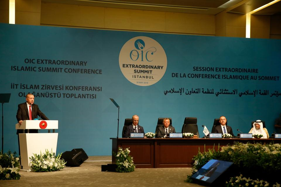 Turkey's President Recep Tayyip Erdogan addresses the OIC.