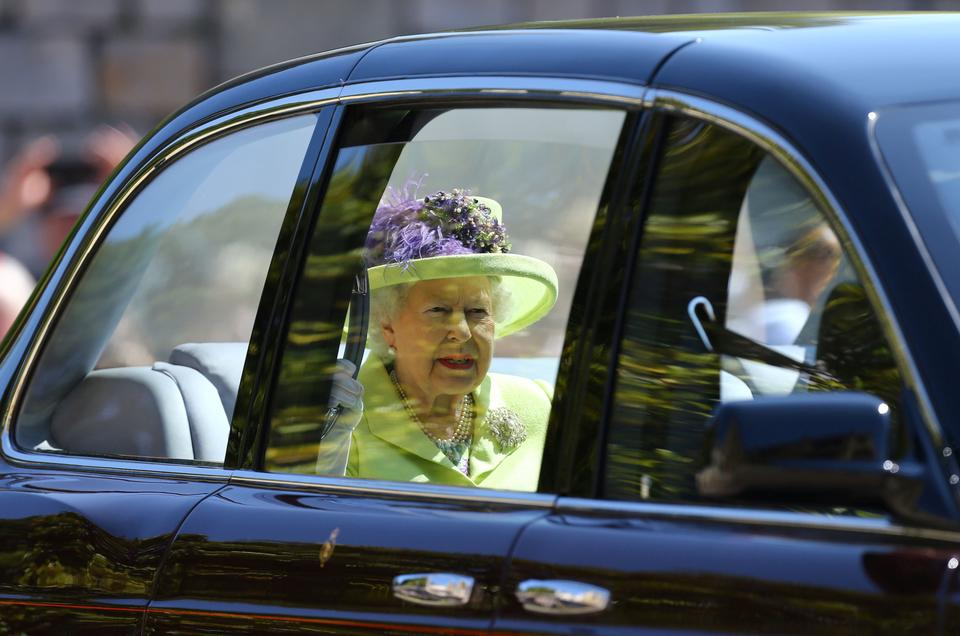 Queen Elizabeth II arrives at St George's Chapel at Windsor Castle for the wedding of Meghan Markle and Prince Harry in Windsor, Britain, on May 19, 2018.