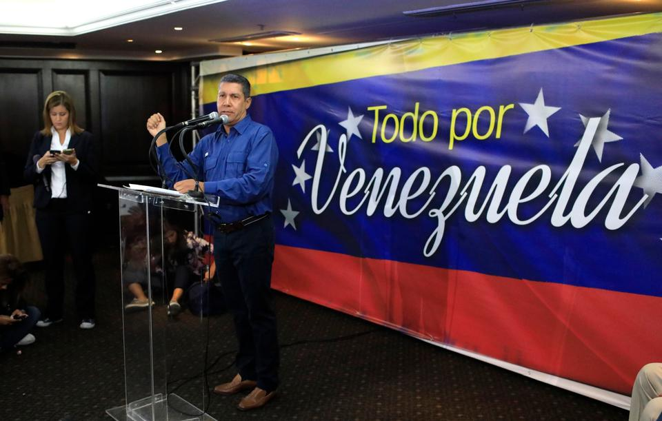 Venezuelan presidential candidate Henri Falcon reacts to the results of the election at Falcon's press centre in Caracas, Venezuela, May 20, 2018.