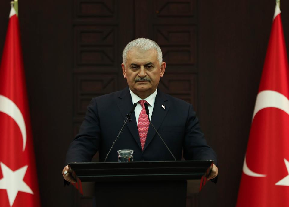 Turkish Prime Minister Binali Yildirim speaks to the press following the Council of Ministers meeting in Ankara, Turkey on April 30, 2018.
