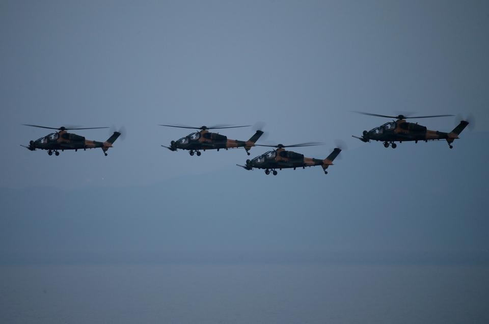 ATAK helicopters hit their targets during the Efes-2018 Combined Joint Live Fire Exercise at Seferihisar district of Izmir, Turkey on May 9, 2018.