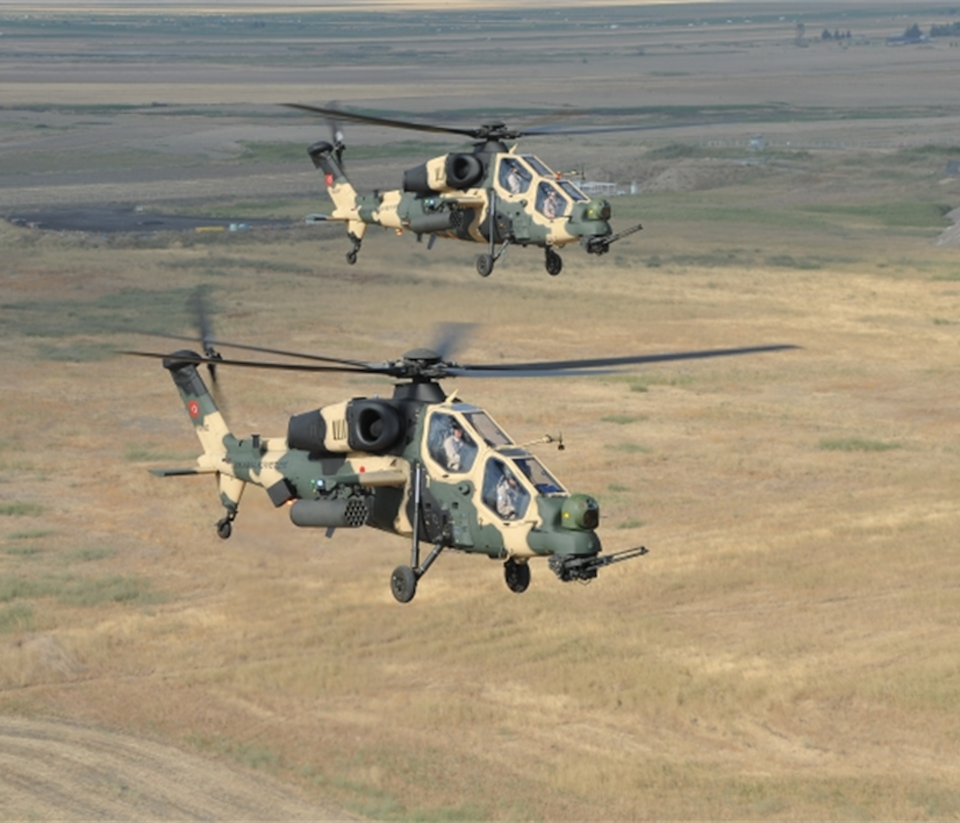 The image taken from the Turkish Aircraft Industries Corporation, TAI's website shows the ATAK helicopter.