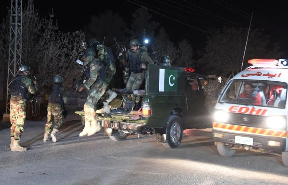 Pakistani troops backed by helicopters launched a major operation against militants who stormed a police academy in the country's restive south-west province. (AFP)