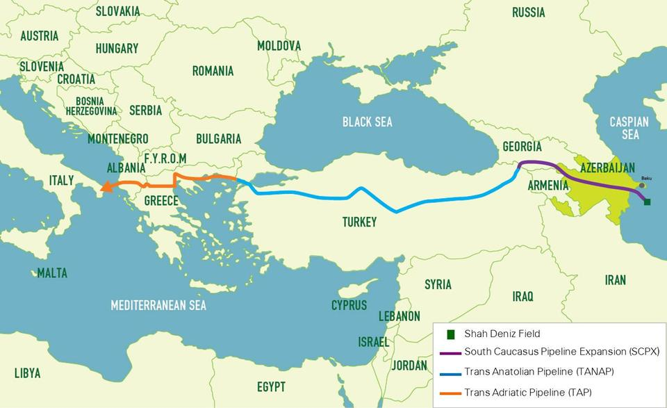 Trans-Anatolian Natural Gas Pipeline (TANAP), blue, and the Trans Adriatic Pipeline (TAP) in in orange.
