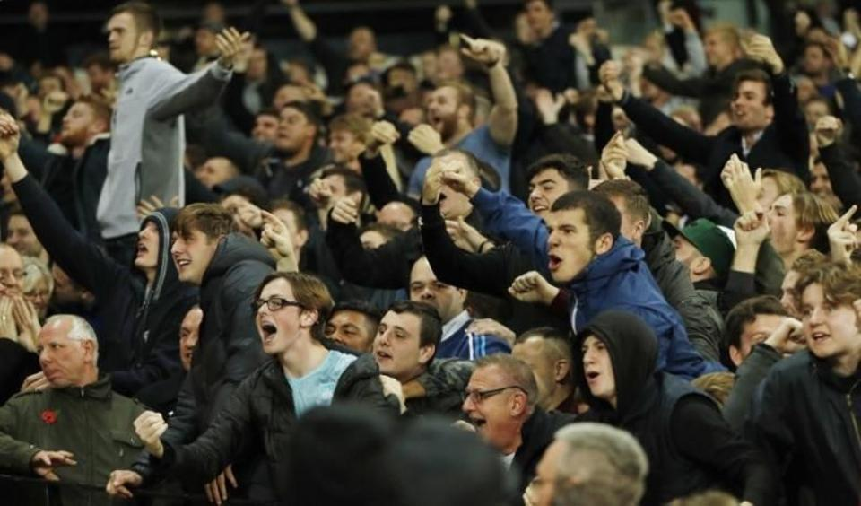 West Ham United fans celebrate their second goal against Chelsea during the EFL Cup match at London Stadium on October 7, 2016. (Reuters)