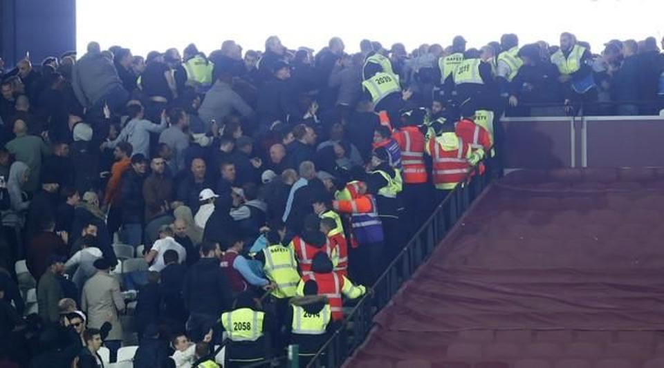West Ham and Chelsea fans clash after the EFL Cup match at London Stadium on October 7, 2016. (Reuters)