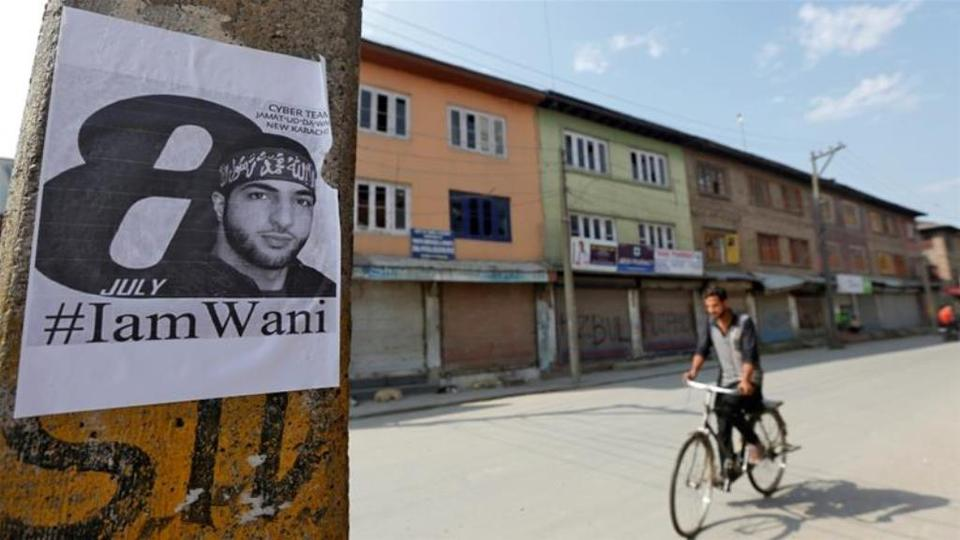 Image shows a strike being observed on the first anniversary of the death of Wani in India-administered Kashmir.
