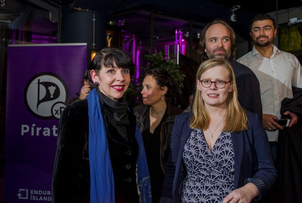 Birgitta Jonsdottir of the Pirate Party (L) is seen after parliamentary elections in Iceland, October 29, 2016. (Reuters)