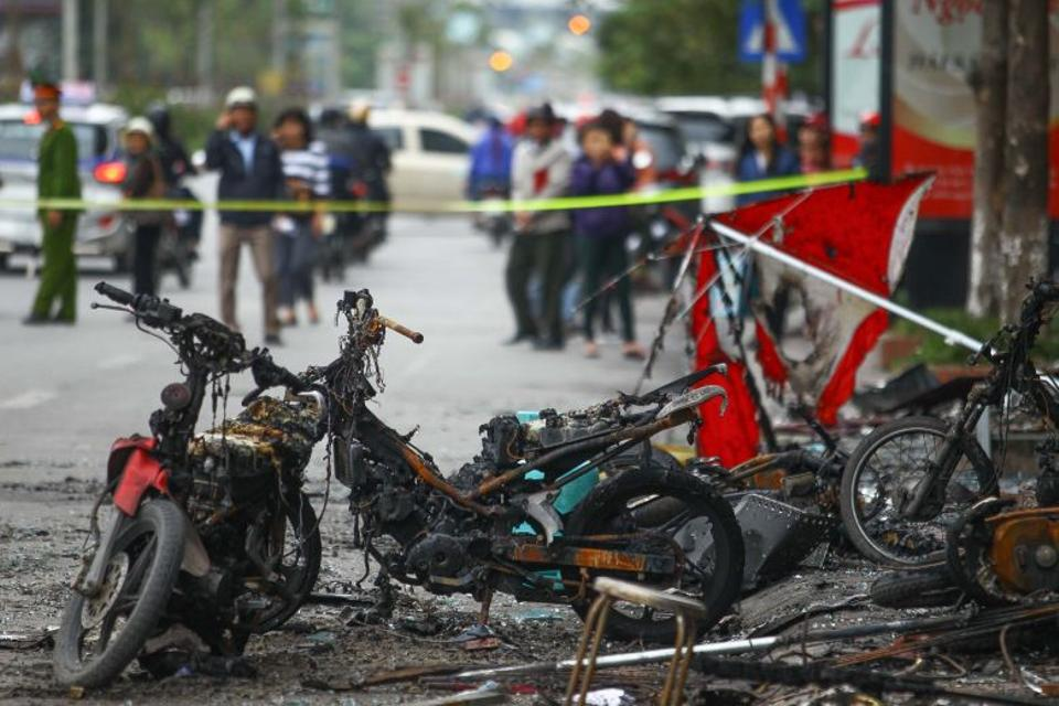 Inspectors picked through rubble in the charred building on Wednesday, where broken beer bottles were scattered and several motorbikes were found burned out. (AFP)