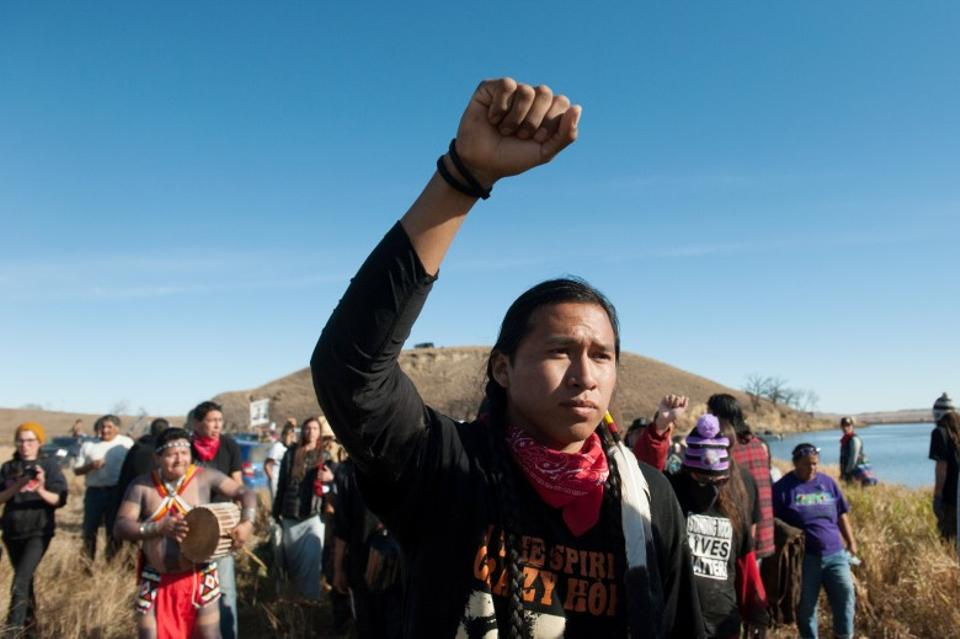 People protested against the building of a pipeline on the Standing Rock Indian Reservation near Cannonball, North Dakota, US November 2, 2016. (Reuters)