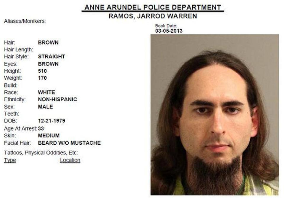 Jarrod Ramos, suspected of killing five people at the offices of the Capital Gazette newspaper office in Annapolis, Maryland, U.S., June 28, 2018 is seen in this 2013 Anne Arundel Police Department booking photo obtained from social media.