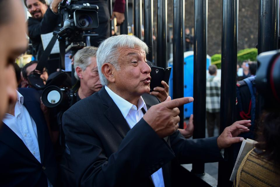 Mexico's presidential candidate Andres Manuel Lopez Obrador for the