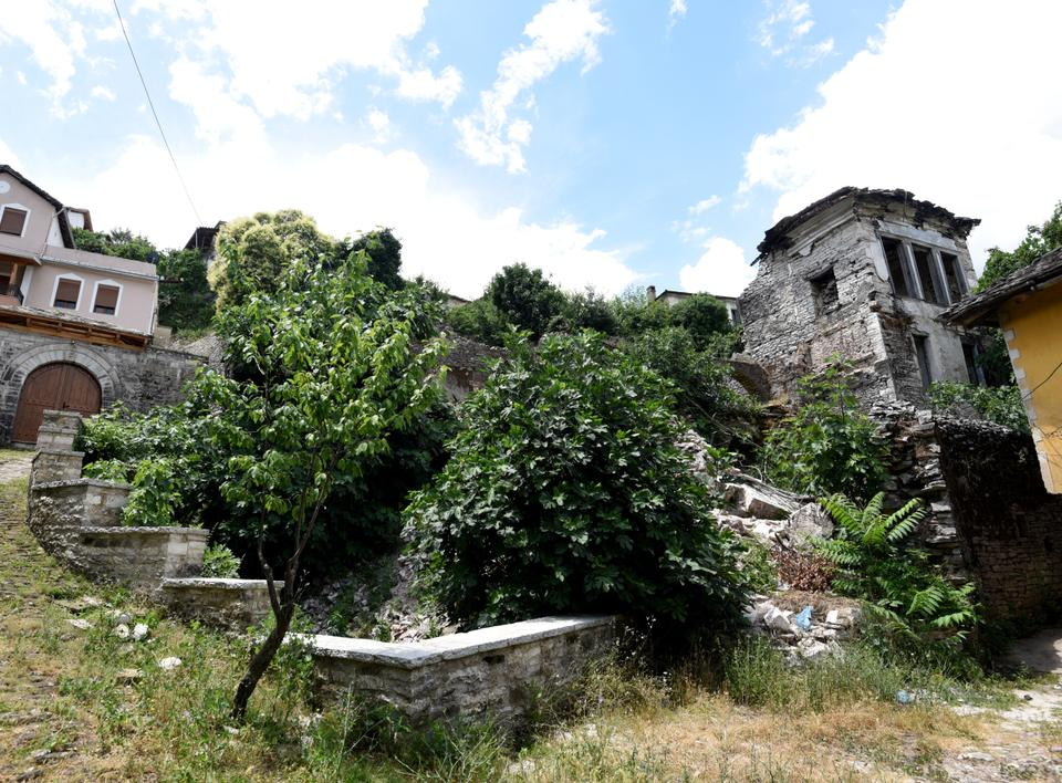 A view of the ruins of the Lolomani house, in the UNESCO protected city of Gjirokastra on June 15, 2018.