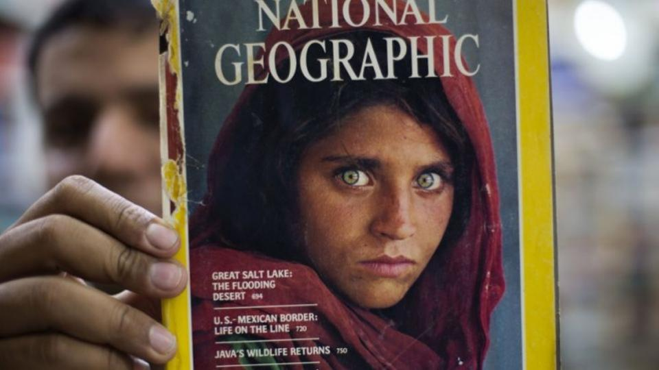 National Geographic magazine's famous June 1985 cover featuring Sharbat Gula. (AP)