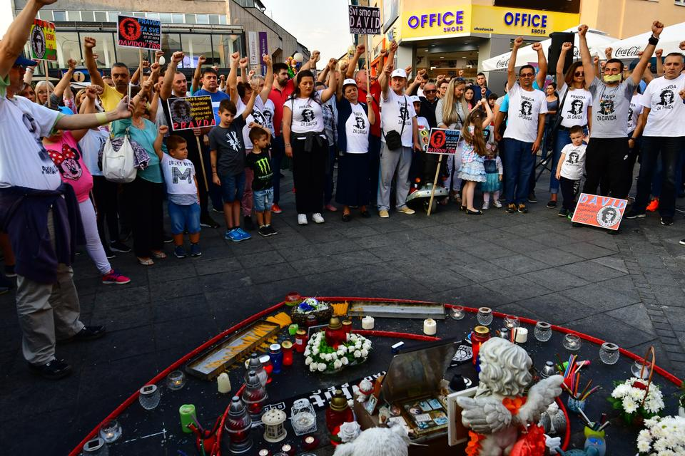 Demonstrators gather in Banja Luka city center, on July 3, 2018 during the 100th day of a demonstration asking for justice for David Dragicevic, a student found dead in a stream in March.