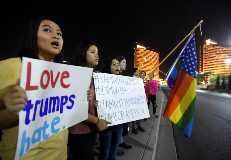 Trump property was the destination for many of the protests which erupted across American on Wednesday. Protesters also sought to reach Trump International Hotel & Tower in Las Vegas. (Reuters)
